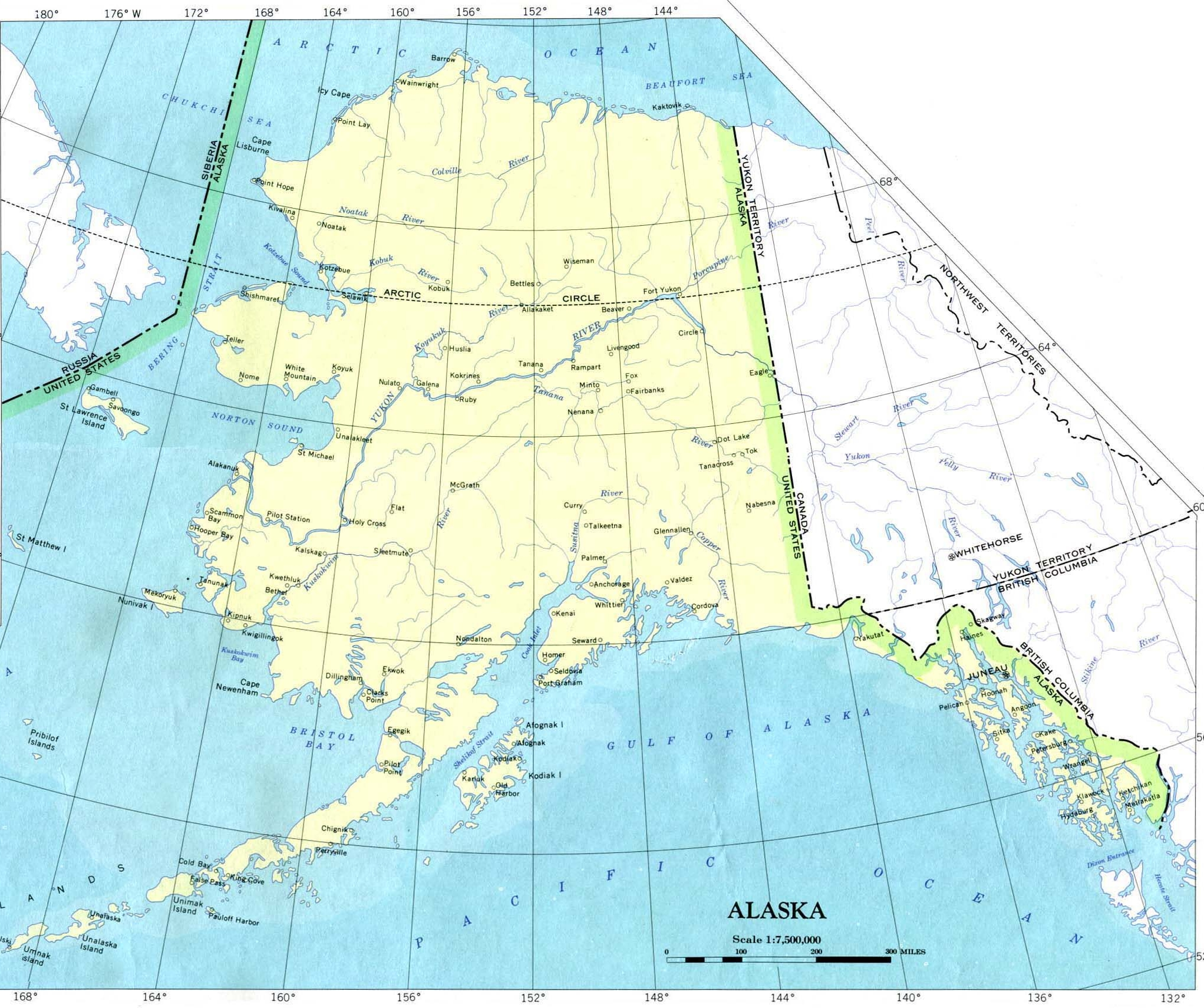 Click for larger map of alaska