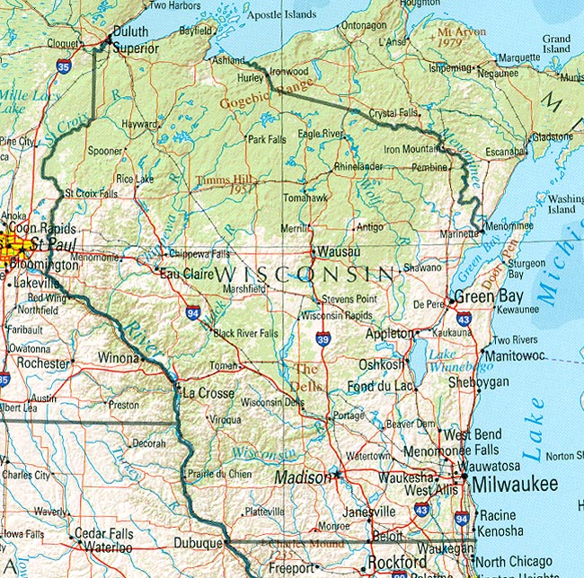 StateMaster Statistics On Wisconsin Facts And Figures Stats - Map of wisconsin and minnesota