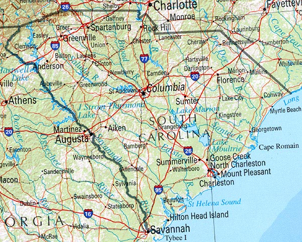 South Carolina Georgia Map StateMaster   Statistics on South Carolina. facts and figures