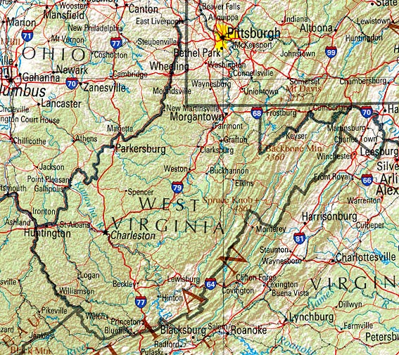 South Virginia Map.Statemaster Statistics On West Virginia Facts And Figures Stats